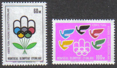 North Cyprus Stamps SG 034-35 1976 Montreal Olympics - MINT