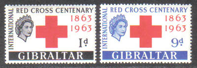 Gibraltar Stamps SG 0175-76 1963 Red Cross Centenary - MINT