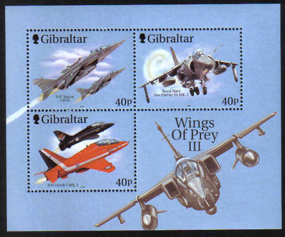Gibraltar Stamps SG 0988 MS 2001 Wings of pray 3rd Series - MINT