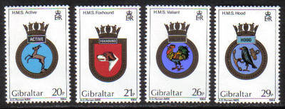 Gibraltar Stamps SG 0510-13 1984 Navel Crests 3rd Series - MINT