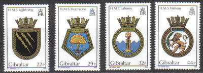 Gibraltar Stamps SG 0541-44 1986 Navel Crests - MINT