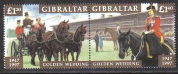 Gibraltar Stamps SG 0810-11 1997 Golden Wedding - MINT