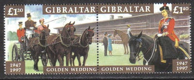 Gibraltar Stamps SG 0810-11 1997 Golden Wedding - MINT