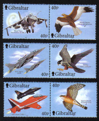 Gibraltar Stamps SG 0982-87 2001 Wings of Prey - MINT