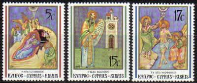 CYPRUS STAMPS SG 808-10 1991 CHRISTMAS - MINT