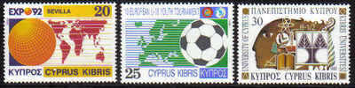 Cyprus Stamps SG 815-17 1992 Anniversaries and Events - MINT