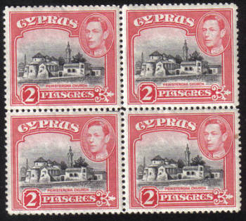 Cyprus Stamps SG 155b 1942 2 Piastres King George VI  - Block of 4 MINT (h526)