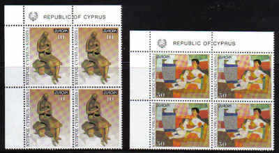 Cyprus Stamps SG 831-32 1993 Europa Contemporary Art - MINT - Block of 4 (b