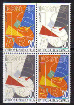Cyprus Stamps SG 1051a-1052a 2003 Europa Poster Art - Booklet pane MINT (b733)