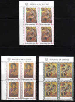 Cyprus Stamps SG 791-93 1990 Christmas Religious Icons  - MINT Block of 4 (b738)
