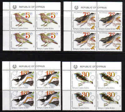 Cyprus Stamps SG 800-03 1991 Pied Wheatear Birds - Block of 4 MINT (b764)