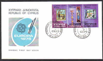 CYPRUS STAMPS SG 443-45 1975 EUROPA PAINTINGS - OFFICIAL FDC
