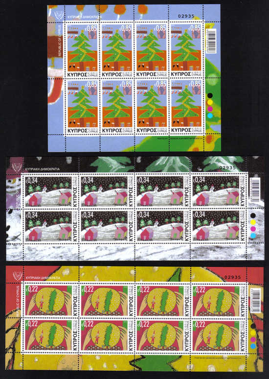 2013 Cyprus Stamps Christmas Full sheets