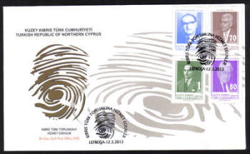 North Cyprus Stamps SG 0753-56 2013 People who have served the Turkish Cypriot Community - Official First day cover