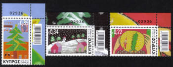 Cyprus Stamps SG 1304-06 2013 Christmas Noel - Control numbers MINT