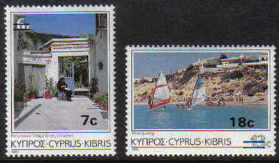 Cyprus Stamps SG 684-85 1986 7c + 18c Surcharge - MINT
