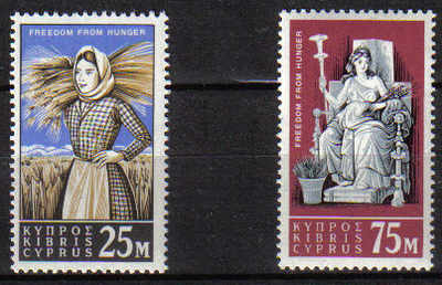Cyprus Stamps SG 227-28 1963 Freedom from Hunger - MINT