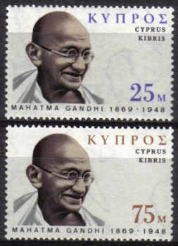 Cyprus Stamps SG 343-44 1970 Mahatma Gandhi - MLH