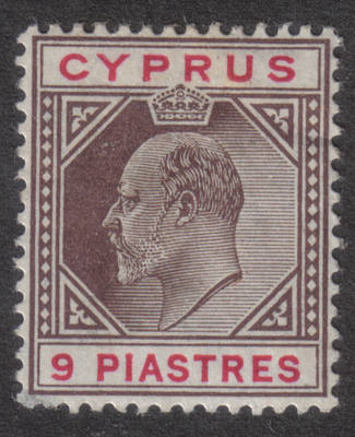 Cyprus Stamps SG 068 1904 King Edward VII Nine Piastres  - MLH (h529)