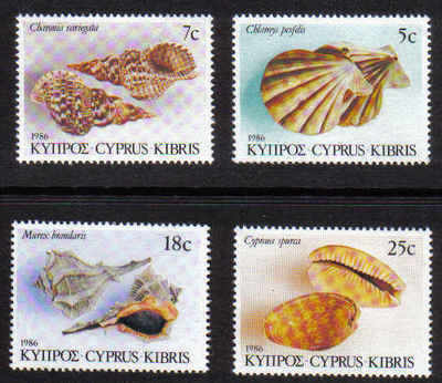 Cyprus Stamps SG 680-83 1986 Seashells - MINT