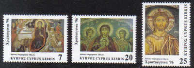 Cyprus Stamps SG 918-20 1996 Christmas Murals - MINT