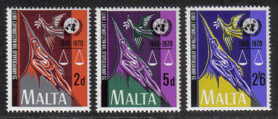 Malta Stamps SG 0441-43 1970 United Nations - MINT