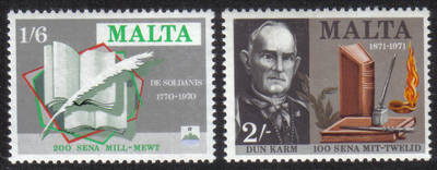 Malta Stamps SG 0447-48 1971 Literary Anniversaries De Soldanis - MINT