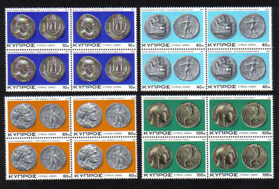 Cyprus Stamps SG 486-89 1977 Ancient Coins -  Block of 4 MINT