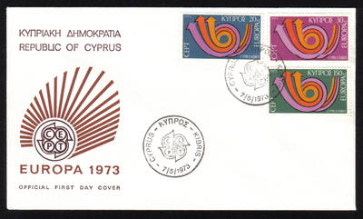 Cyprus Stamps SG 403-05 1973 Europa Posthorn - Official FDC