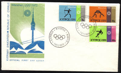 Cyprus Stamps SG 390-92 1972 Munich Olympic Games - Official FDC (h627) *CL