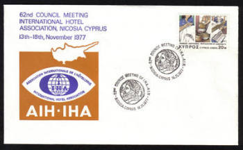 Unofficial Cover Cyprus Stamps 1977 62nd Council meeting international hotel association Nicosia Cyprus 13-18th November 1977 - Cachet (h630)