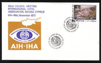 Unofficial Cover Cyprus Stamps 1977 62nd Council meeting international hotel association Nicosia Cyprus 13-18th November 1977 - Cachet (h629)