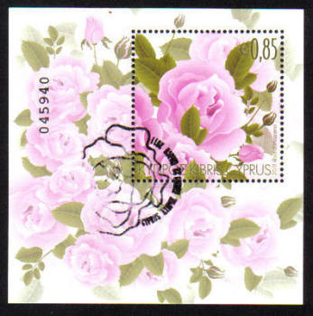 Cyprus Stamps SG 1244 MS 2011 Aromatic Flowers Roses Mini Sheet - USED (d935)