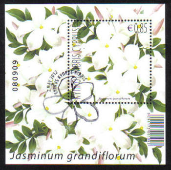 Cyprus Stamps SG 1278 MS 2012 Aromatic Flowers Jasmine - Mini sheet CTO USED (g257)