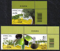 Cyprus Stamps SG 1312-14 2014 The Olive tree and its products  - Control numbers MINT