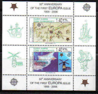 North Cyprus Stamps SG 0622 MS 2006 50th Anniversary of the Europa stamps - Perforated MINT