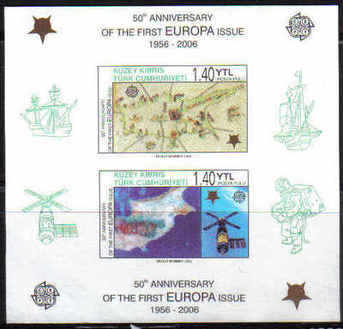 North Cyprus Stamps SG 0622 MS 2006 50th Anniversary of the Europa stamps - Imperforated MINT
