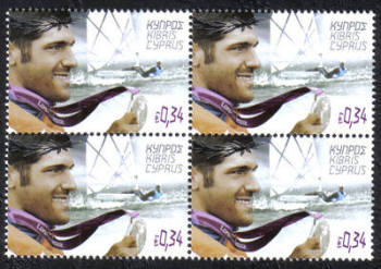 Cyprus Stamps SG 1286 2012 London Olympic Games Cypriot silver medal winner Pavlos Kontides for sailing - Block of 4 MINT