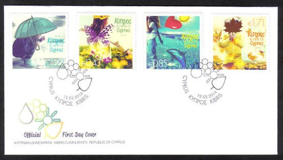 2014 Cyprus stamps The four seasons of the year FDC