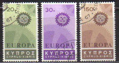 CYPRUS STAMPS SG 302-04 1967 EUROPA COGWHEEL - USED (c158)