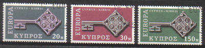 Cyprus Stamps SG 319-21 1968 Europa key - USED (c134)