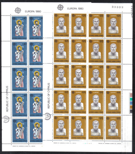 Cyprus Stamps SG 540-41 1980 Europa Personalities - Full sheets MINT (h770)