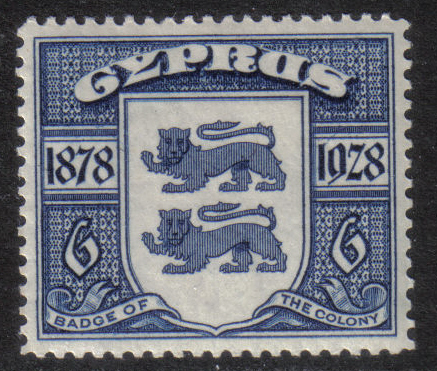 Cyprus Stamps SG 127 1928 Six Piastres 50th Anniversary of British rule - M