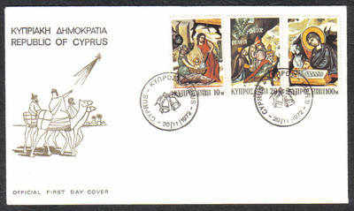 Cyprus Stamps SG 397-99 1972 Christmas - Official FDC
