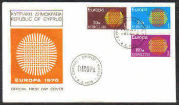 Cyprus Stamps SG 345-47 1970 Europa Sun - Official FDC