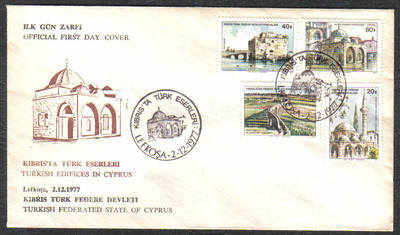 North Cyprus Stamps SG 54-57 1977 Turkish Buildings - Official FDC