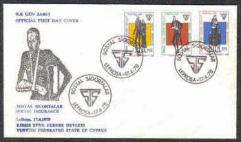 North Cyprus Stamps SG 60-62 1978 Social Security - Official FDC