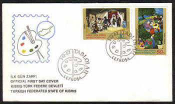 North Cyprus Stamps SG 127-28 1982 Art 1st Series - Official FDC