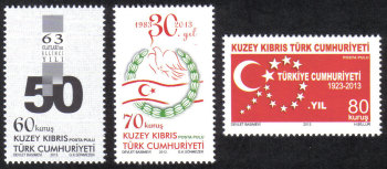 North Cyprus Stamps SG 0767-69 2013 Anniversaries and Events - MINT