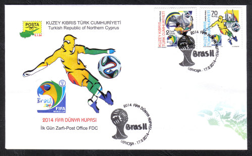North Cyprus Stamps SG 2014 (c) FIFA Football World Cup Brazil - Official F